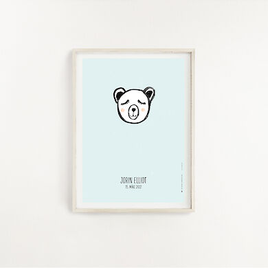 Poster Bear Light Blue A4