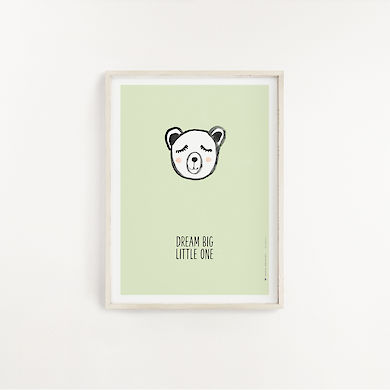 Poster Bear Lime A4 - Vorderseite
